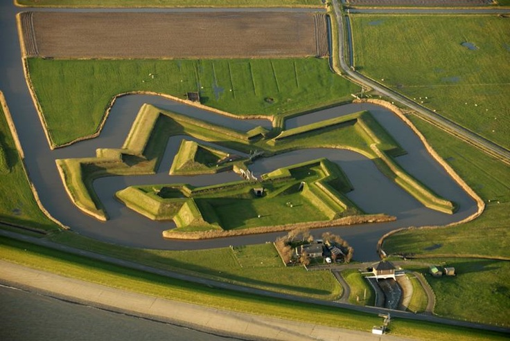 The island of Texel, the Netherlands was an important access and exit route for the ships from towns on the Zuiderzee. To protect this route, William of Orange took the initiative to construct the fort De Schans. De Schans was built around 1574. Fleet admiral Tromp regularly held councils of war here. In 1811, Napoleon paid a visit to De Schans, upon which he had the fort enlarged and reinforced with two adjoining forts.