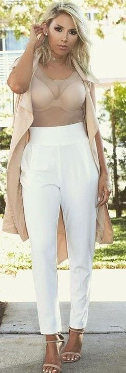 #summer #latest #trends |  Nude Vest + Nude Sheer Top + White Pants