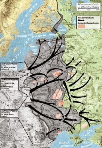 Operation Barbarossa Map, 1941. Largest military invasion of all time
