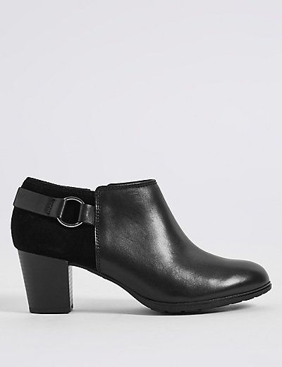 Leather Block Heel Side Zip Shoe Boots | M&S