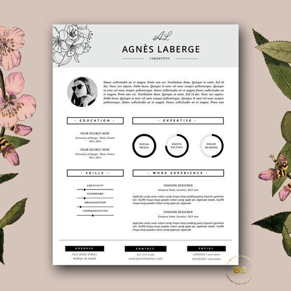 Resume Template | Feminine Resume and FREE Cover Letter Template | Creative Resume with Photo | Fashion Resume for MS Word  Instant Download