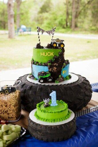 Monster truck birthday and smash cake