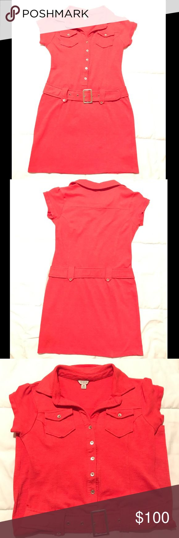 Guess Dress Worn Once. Belt is not removable. Good Fit. Red Pinkish color. Guess Dresses Mini