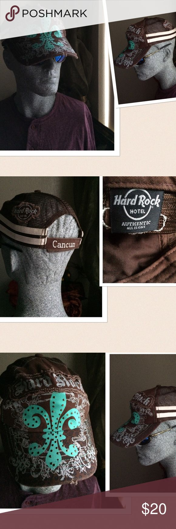 Hard Rock Hotel Cancun Hat Hard Rock Hotel Cancun Hat/Cap. Distressed design at the front. Mesh with snap back closure. New without tag. Hard Rock Accessories Hats