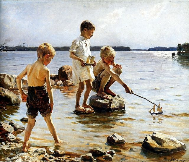 Edelfelt, Albert (1854-1905) - 1885c.  Boys Playing at the Beach by RasMarley, via Flickr