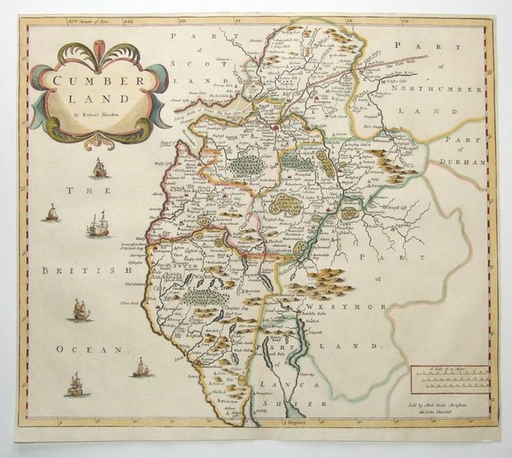 CUMBERLAND By Robert Morden Published in Camden s Brittania by Abel Swale Awnsham and John Churchill London 1695 A fine copper engraved antique map