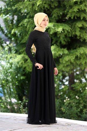 Belden Fiyonklu Abiye - İroni - 8889 - Siyah