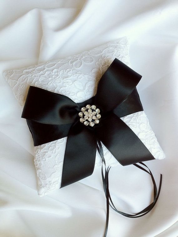 Black and White Ring Bearer Pillow  Alencon by weddingsandsuch, $47.00