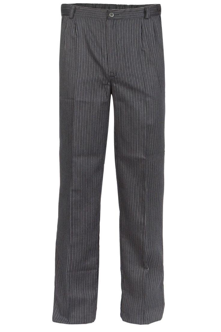 El pantalón raya negra y gris marengo de Artel, tiene dos pinzas, cintura con media goma graduable mediante botón y pasadores para cinturón. Además tiene bragueta cerrada con cremallera y botón negro. Dispone de dos bolsillos interiores delanteros. El tejido utilizado es resistente a la lejía (Indanthren). Tejido muy fresco y rico en algodón. #MasUniformes #RopaLaboral #UniformesDeTrabajo #VestuarioOnline #Artel