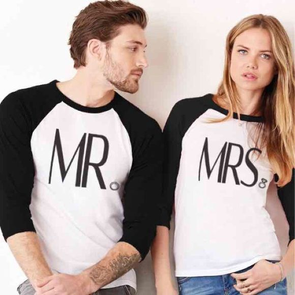 Mr and Mrs baseball tee Women and men's, used for a couple hours men's is a size small and women's a medium. Will sell cheaper off posh Tops