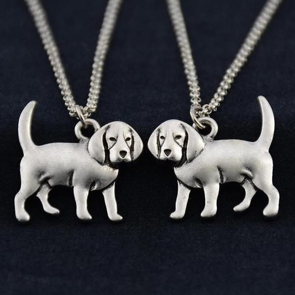 Antique Silver Beagle Charm Necklaces Stainless Steel Jewelry