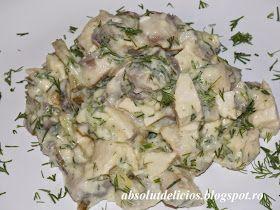 Salata cu piept de pui, ciuperci si maioneza light