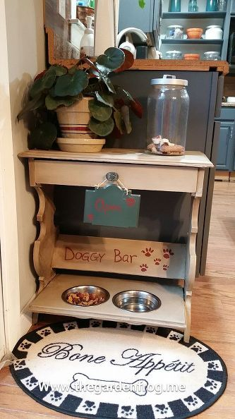 upcycling magazine table dog feeding bar, home decor, organizing, painted furniture, pets animals, repurposing upcycling