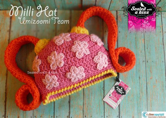 CROCHET PATTERN, Milli Hat, UmiZoomi Team, Character hat. Girl Crochet hat / Sealed with a Kiss (Instant Download)) $5.50