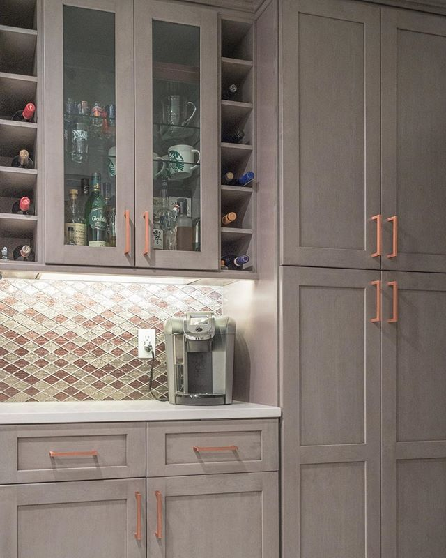 Grey Fabuwood Kitchen Cabinets With Copper Hardware Kitchens Home Design Finehomebuild Custom Kitchen Cabinets Blue Gray Kitchen Cabinets Built In Wine Rack