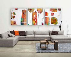 Original large 3 panel painting - Abstract set of 3 wall art – Home with balloons - Tryptic acrylic painting by Mirna Sisul