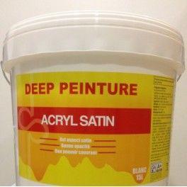 - 10% Deep Peinture Acryl  Satin 15 L -- 75,06€ TTC Peinture satiné en phase aqueuse pour intérieur .Sechage rapide Applicable sur supports secs ,sains et propres . Rendement :8 à 9 m2 au litre. Dilution : 0 à 5% d'eau. Nettoyage des outils : eau