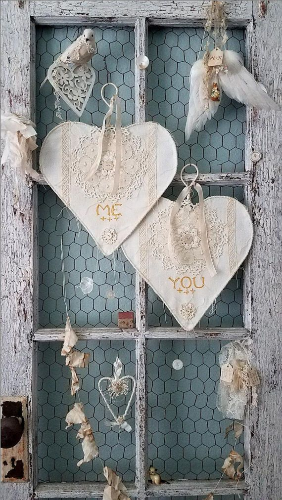 Love Stitched Hearts - Me and You Bride and Groom Chair Signs Shabby Chic Wire Lace Heart for Wedding and Home Decor  112