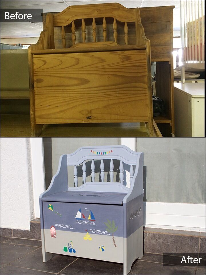 This Beach Themed Toy Box Bench is for sale ZAR 1150