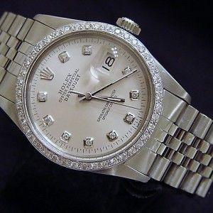 Mens 18k White Gold/Ss Rolex Datejust Date Watch Diamond