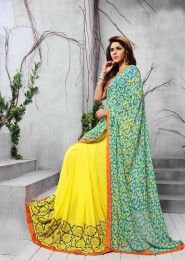 Party Wear Georgette Yellow Printed Saree