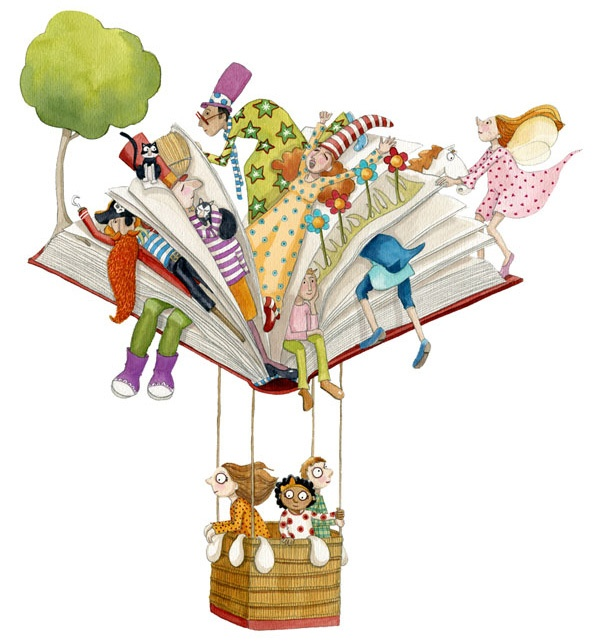 Volando | Traveling with books / Viajando con los libros (ilustración de Momo Carretero)