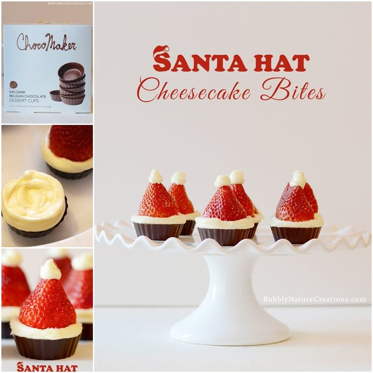 Strawberry Santa Hat Cheesecake Bites no bake