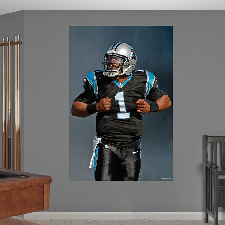 Cam Newton Superman Mural Fathead Wall Graphic | Carolina Panthers Wall Decal | Sports Home Décor | Football Bedroom/Man Cave/Nursery