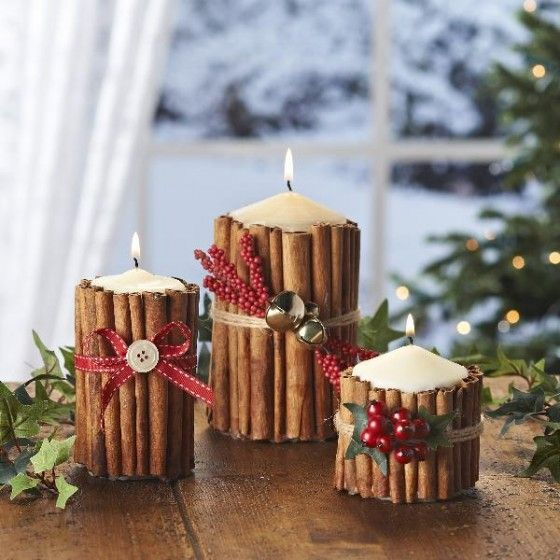 If you want your candle centerpiece to smell amazing, we suggest choosing this cinnamon idea. To make these, you will need cinnamon sticks, elastic bands, string, dried fruit and trims, and a microwave. You will need the latter to adhere the sticks to the candles.