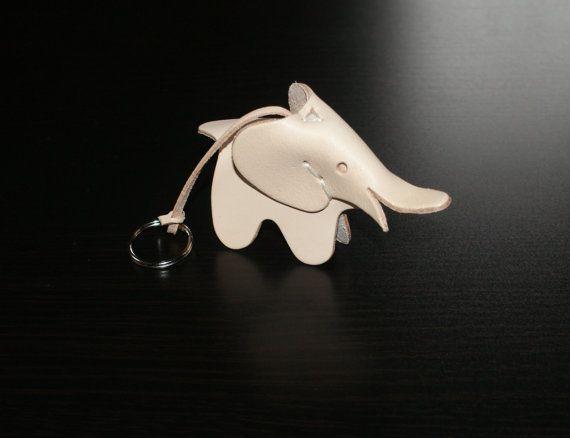Leather key chain holderblack  leather elephant key ring by araga
