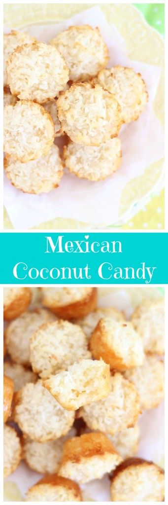 Coconut candy baked to golden perfection - only 2 ingredients! Lots of coconutty deliciousness, and they're incredibly soft and chewy.