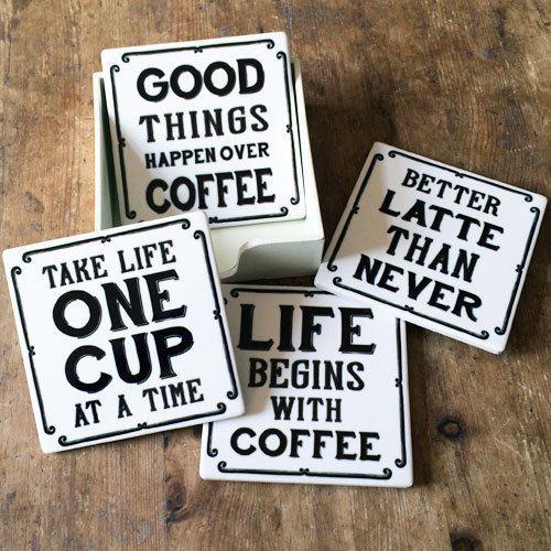 Vintage-Caffe-Di-Ceramica-Tema-Citazione-Piastrella-Sottobicchieri-in-Legno