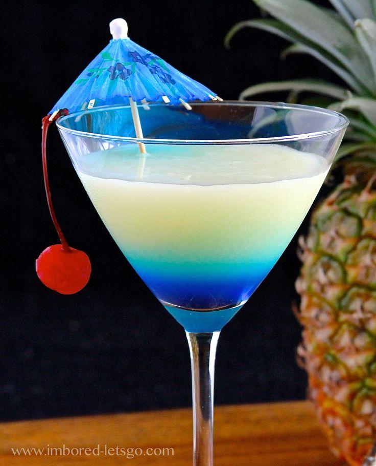 Pina Colada-tini (2 oz. rum 1 oz. coconut rum 2 oz. pineapple juice 1 oz. cream of coconut 1/2 oz. blue curaçao)