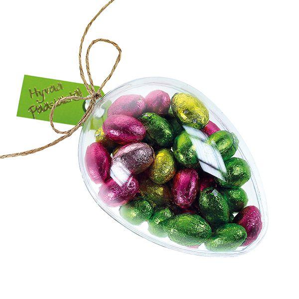 Läpinäkyvät avattavat akryylimunat voi täyttää vaikka suklaamunilla.