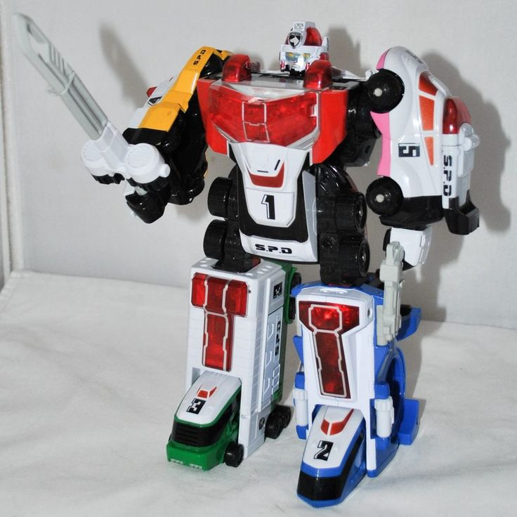 Power Rangers S.P.D. - Deluxe Delta Squad Megazord by Bandai from 2004, Near Complete