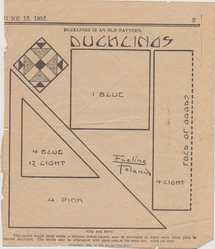Ducklings quilt pattern quilt pattern from The Weekly Kansas City Star June 15,1932