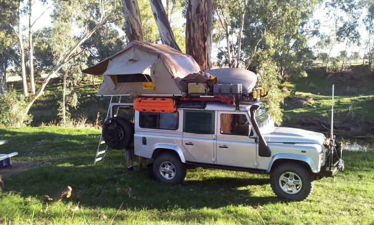 Camping in our Land Rover Defender 110. Dubbo, NSW Australia