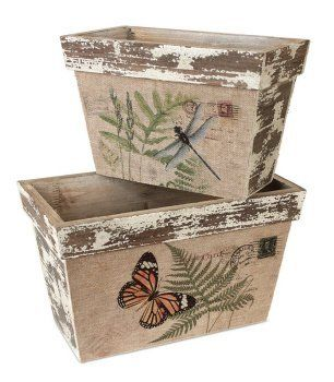 """Pack of 4 Distressed Wooden Dragonfly and Butterfly Decorative Boxes 14"""" by Melrose, http://www.amazon.com/dp/B00BGDVEF0/ref=cm_sw_r_pi_dp_VPyJsb1NR4544"""
