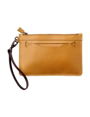 CLUTCH PURSE £45.00 Simple flat purse in good quality leather. Removable, contrast wrist strap in sturdy belt leather. Single external slip pocket. Zip closure. Unlined.
