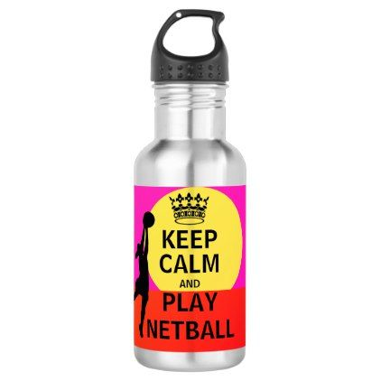 Keep Calm and Play Netball Quote Stainless Steel Water Bottle - love gifts cyo personalize diy