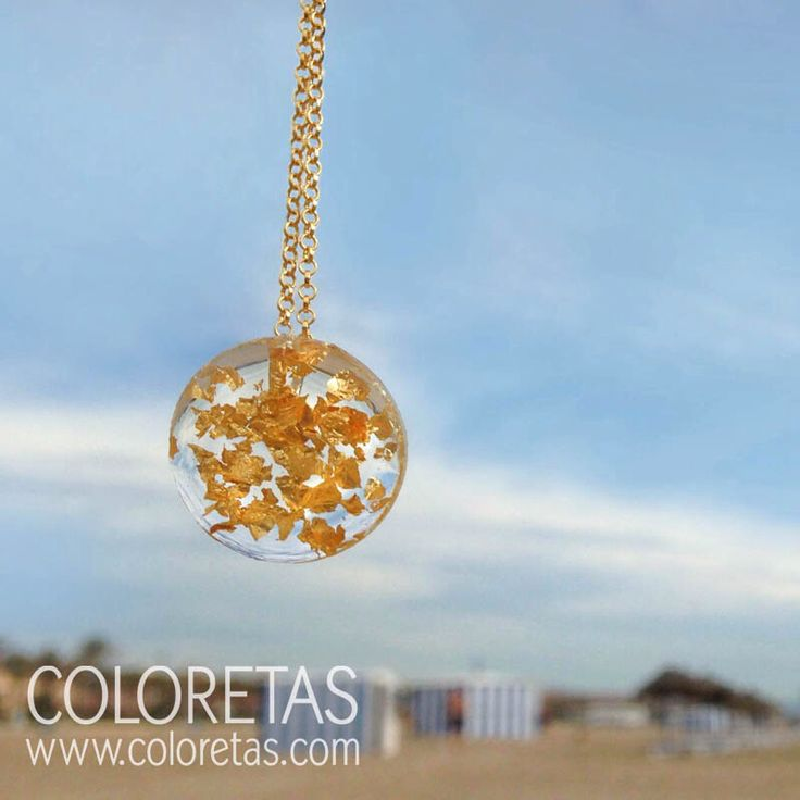 Golden Flakes mini pendant with golden steel chain  or  sterling silver chain 18K gold filled