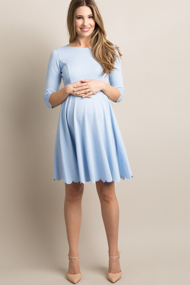 8610f0e8d29d9 Light Blue Solid Scalloped Hem Dress | Baby Shower Stuff in 2019 | Blue maternity  dress, Maternity bridesmaid dresses, Maternity dresses