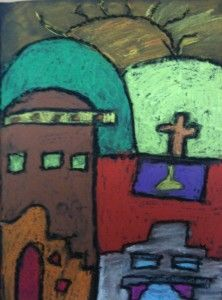 Chalk Pastel California Missions for Fourth Grade