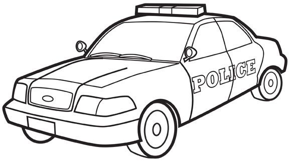Police car colouring page People