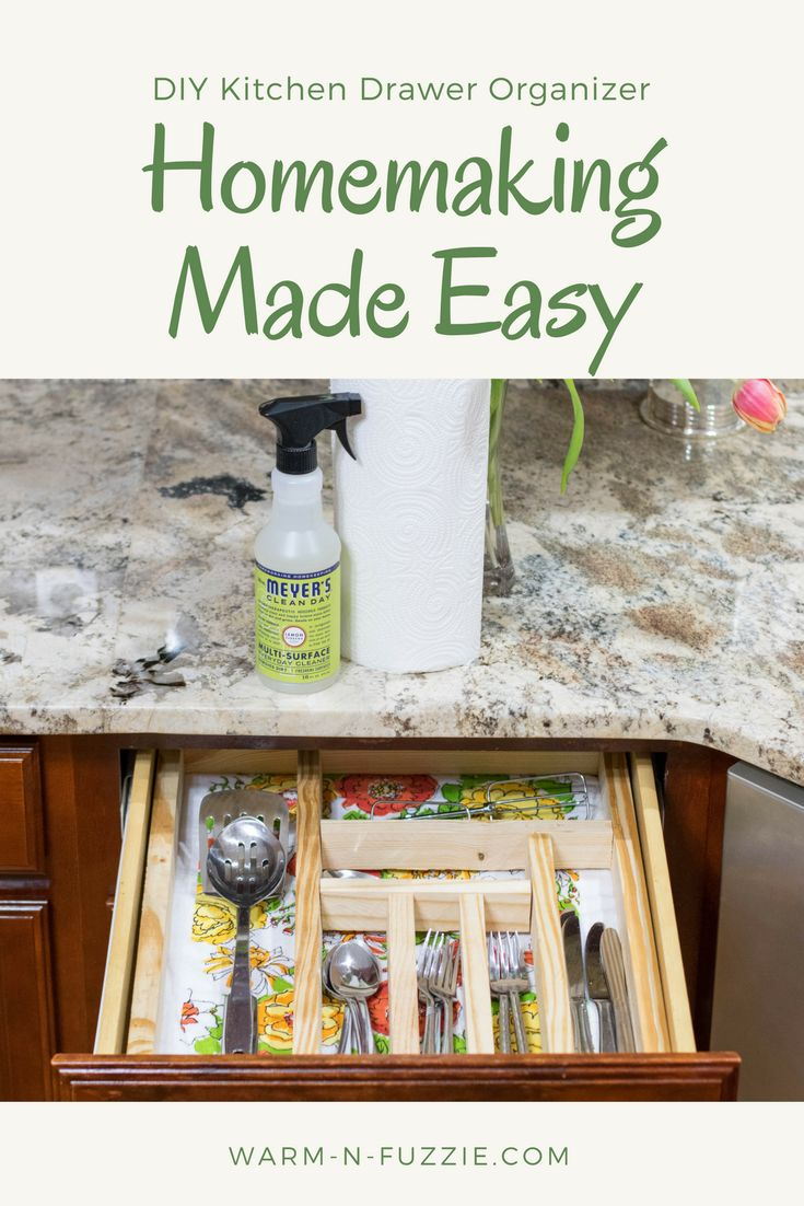 DIY Kitchen Drawer Oranizer Keep Clean with Mrs. Meyers #ad #HomeIsWhereMrsMeyersIs  DIY Kitchen Project Kitchen Utensil Drawer Holder