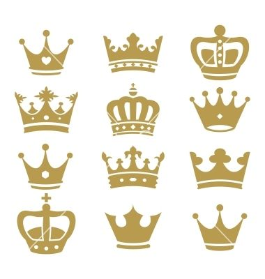 Crown collection  silhouette vector on VectorStock