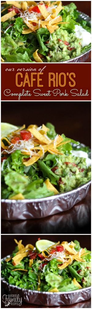 We LOVE Cafe Rio and Costa Vida!  This recipe for Sweet Pork Salad has been the number one copycat for 10 years running.  You will love the sweet pork with cilantro lime rice and blacks beans topped with lettuce and pico and guacamole.  Not to mention our yummy cilantro lime ranch or vinaigrette dressings.