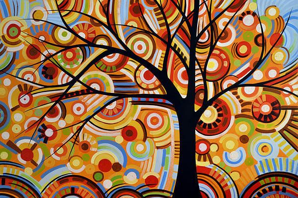 Abstract Modern Tree Landscape Thoughts Of Autumn By Amy Giacomelli Print By Amy Giacomelli