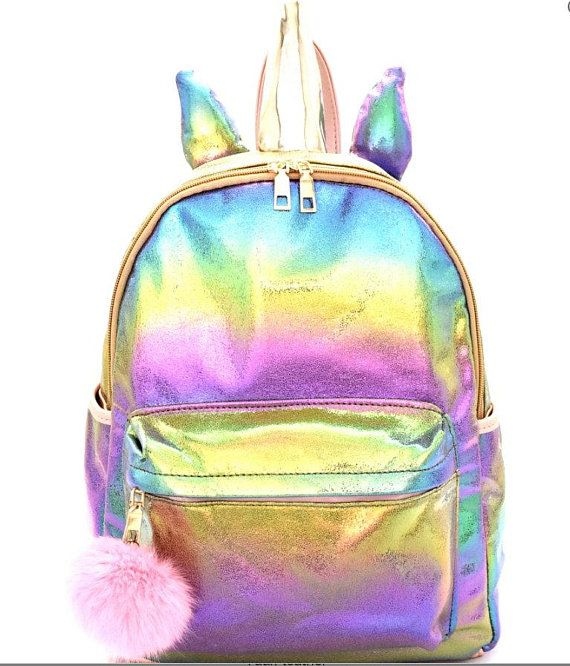 Leather Magical Unicorns Background Backpack Daypack Bag Women