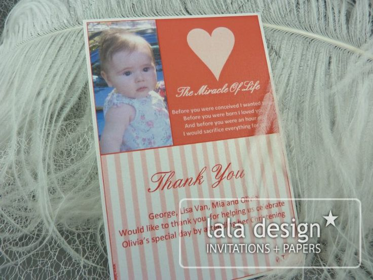 Red and pink stripe thank you card